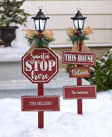 Personalized Holiday Solar Yard Stakes