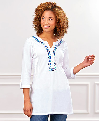 34 Sleeve Knit Tunic with Embroidery