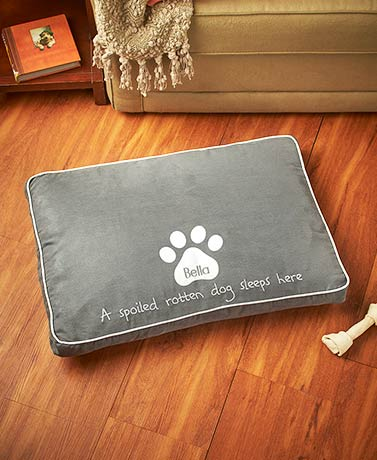 "Personalized ""Spoiled Rotten"" Dog Beds"