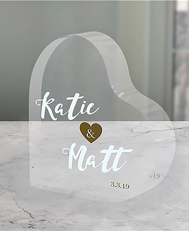 Personalized Heart Keepsake Cake Topper
