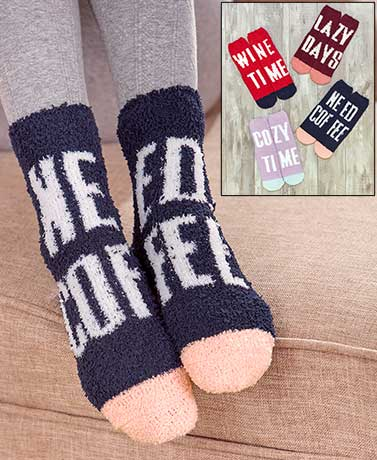Novelty Cozy Socks with Grippers