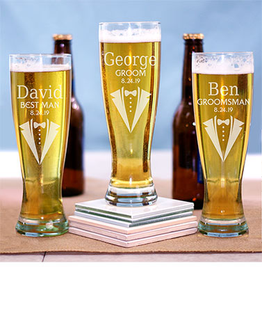 Personalized Wedding Party Pilsner Glasses