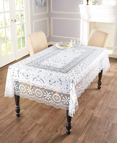 Vinyl Lace Crochet Tablecloths