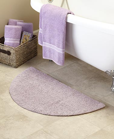Reversible Cotton Half Circle Bath Rugs