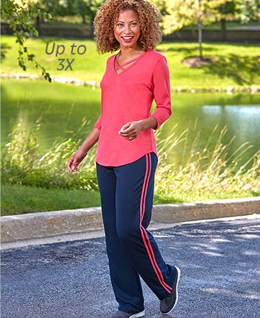 Lattice Neck Athletic Top and Pants Sets