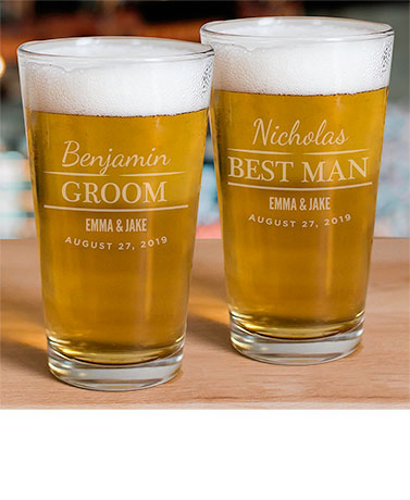 Personalized Wedding Party Pint Glass
