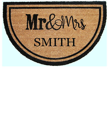 Personalized Mr. & Mrs. Half-Moon Coir Doormat
