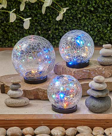 Solar Crackle Glass Garden Globes