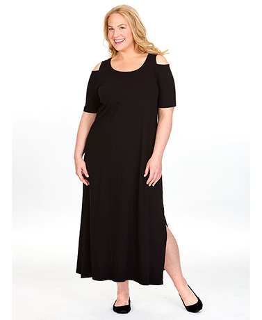 Women's Cold Shoulder Long Dress - Black