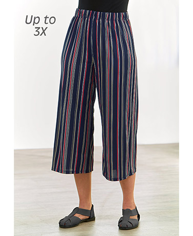 Women's Printed Knit Wide-Leg Capri Pants