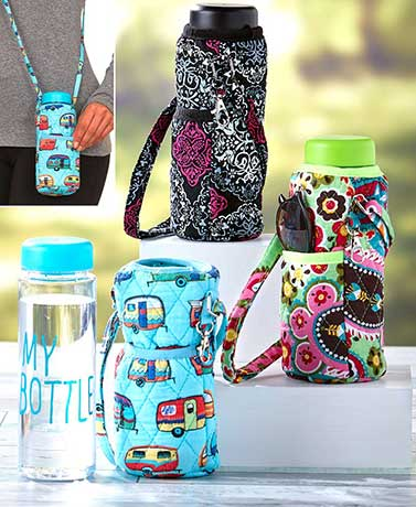Quilted Water Bottle Carrier with Bottle