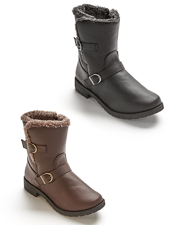 Women's Boots with Buckles and Faux Fur