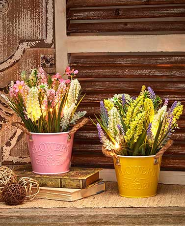 Lighted Country Floral Arrangements