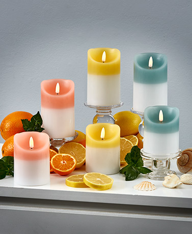 Sets of 2 Realistic LED Scented Candles