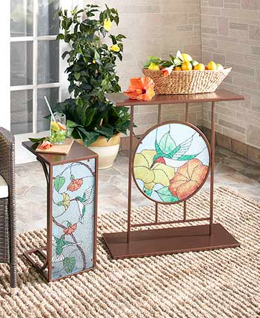 Outdoor Stained Glass Accent Tables