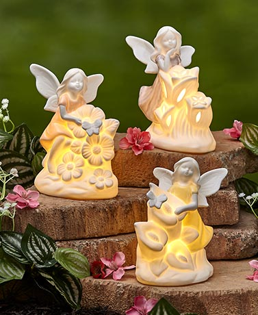 Lighted Porcelain Fairies