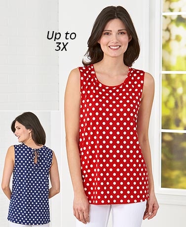 Polka Dot Sleeveless Tops