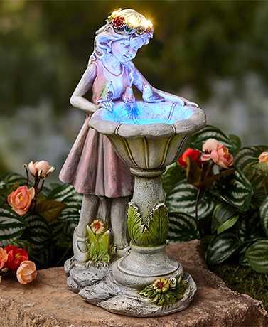 Solar Girl Bird Bath Sculpture