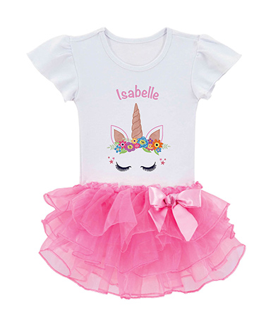 Happy Unicorn Personalized Tutu Tee