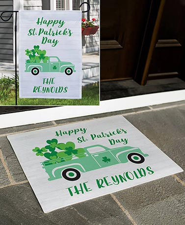Personalized St. Patrick's Day Doormat or Garden Flag