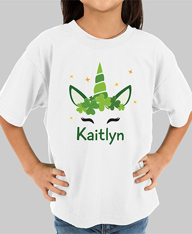 Personalized Irish Unicorn Youth T-Shirt