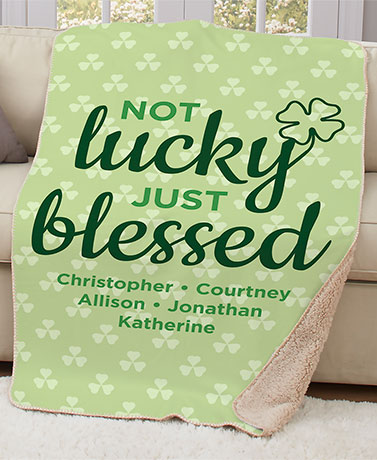 Not Lucky Just Blessed Personalized Sherpa Throw