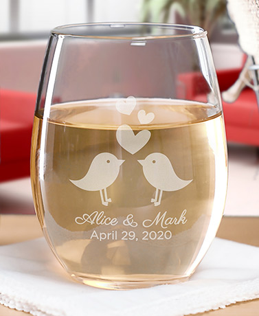 Personalized Wedding Themed Wine Glasses