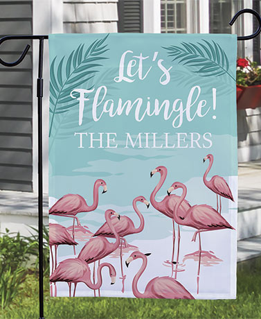 Let's Flamingle Personalized Doormat or Garden Flag