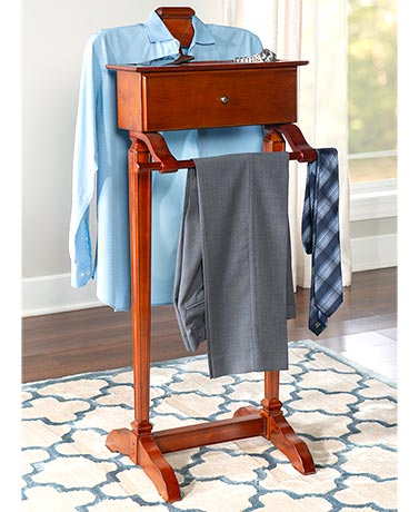 Cherry Finish Men's Valet Stand