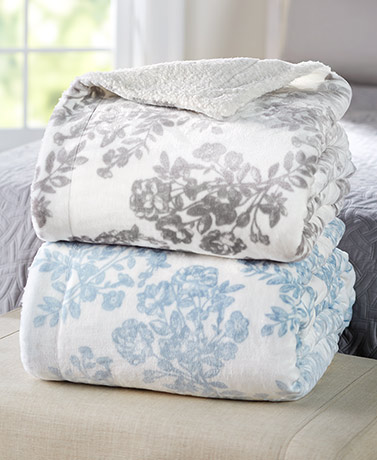 Floral Toile Sherpa-Backed Blankets