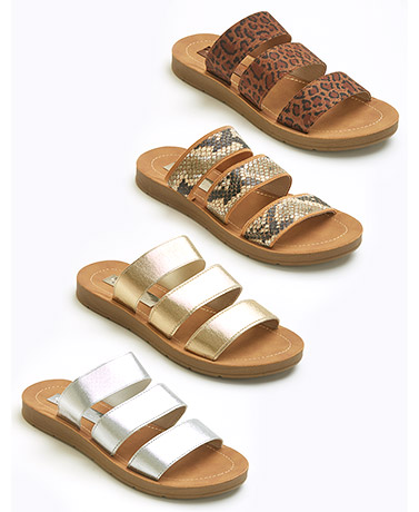 Flex Sole Elastic 3-Strap Comfort Sandals