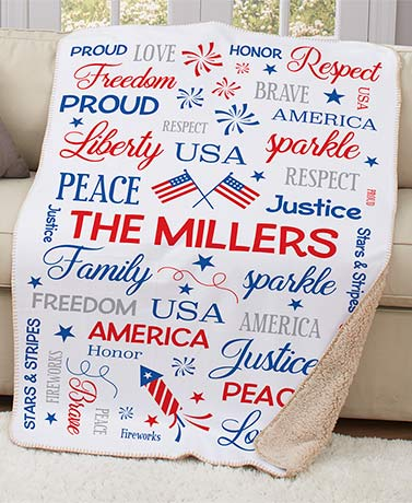 Personalized Patriotic Word Art Sherpa Throw or Pillow